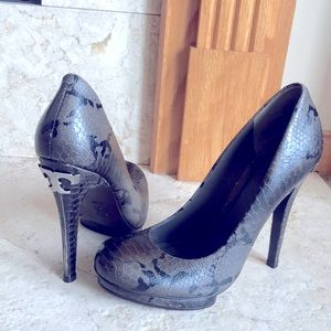 Tory Burch Jude Leather Snake Skin High Heels 7.5
